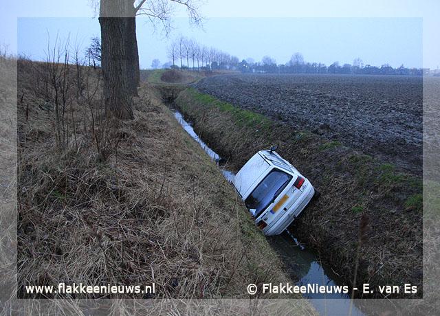 Foto behorende bij Auto te water bij Herkingen