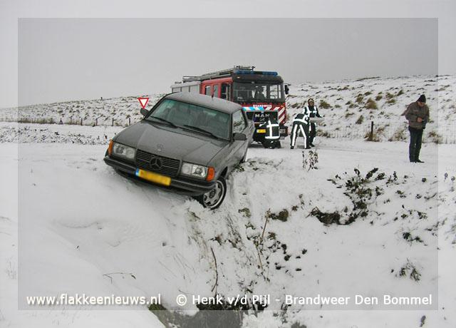 Foto behorende bij Brandweer Den Bommel helpt auto terug op de weg