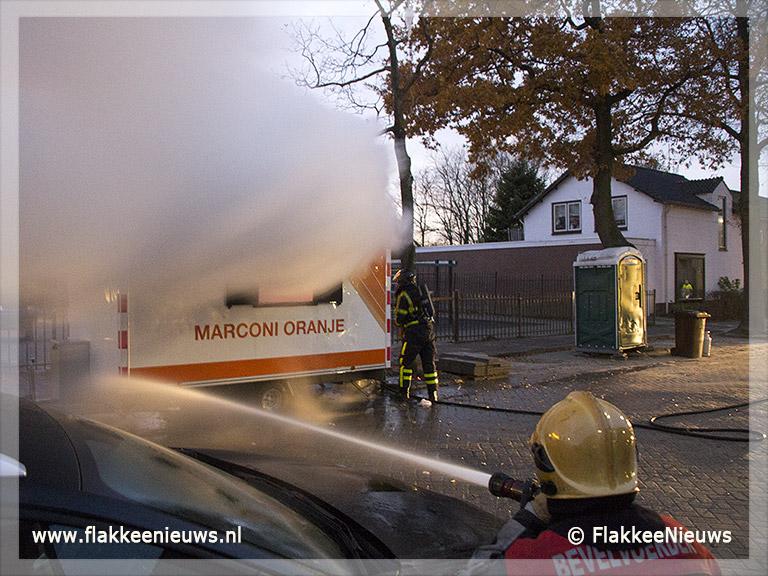 Foto behorende bij Bouwkeet in brand