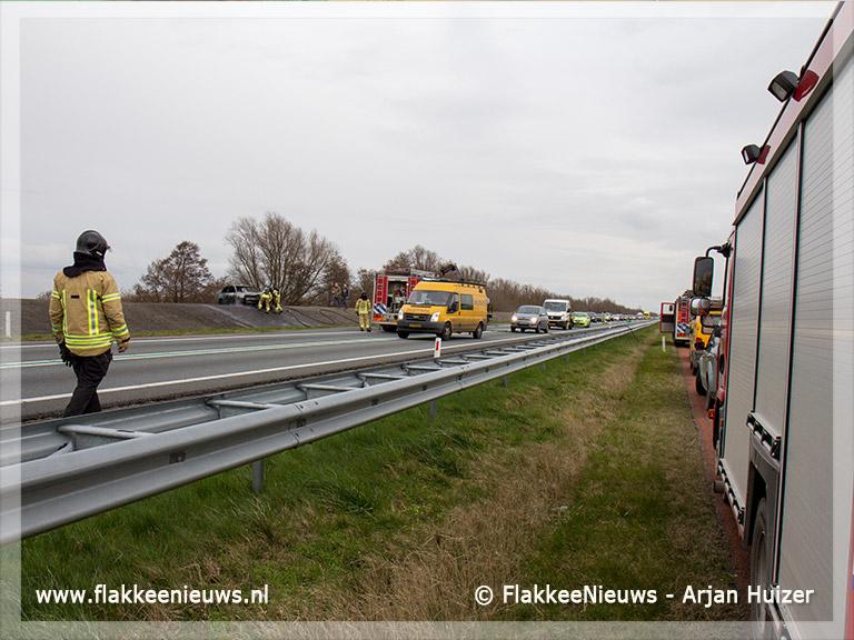 Foto behorende bij Verkeershinder N59 door autobrand