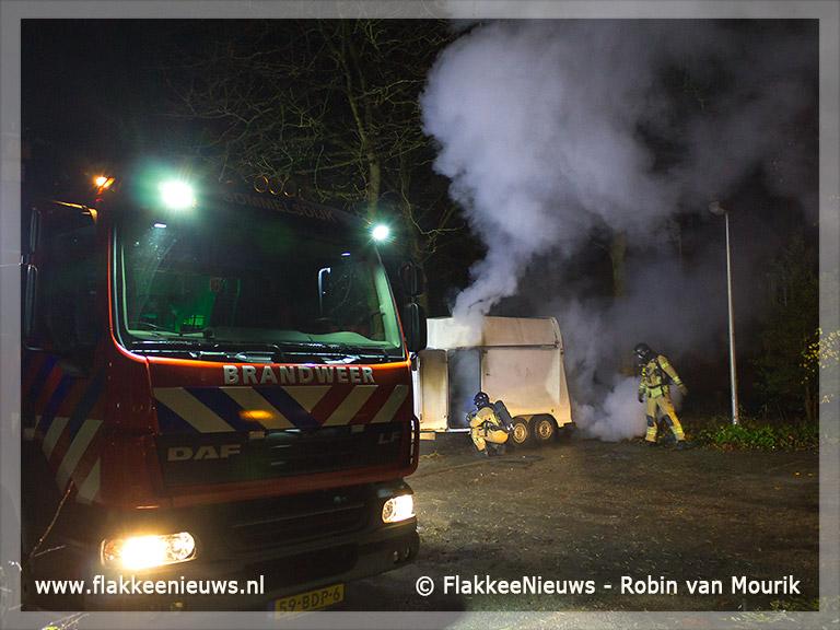 Foto behorende bij Paardentrailer in brand