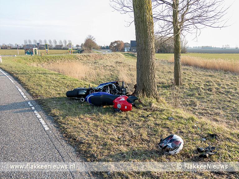 Foto behorende bij Motorrijder botst tegen boom