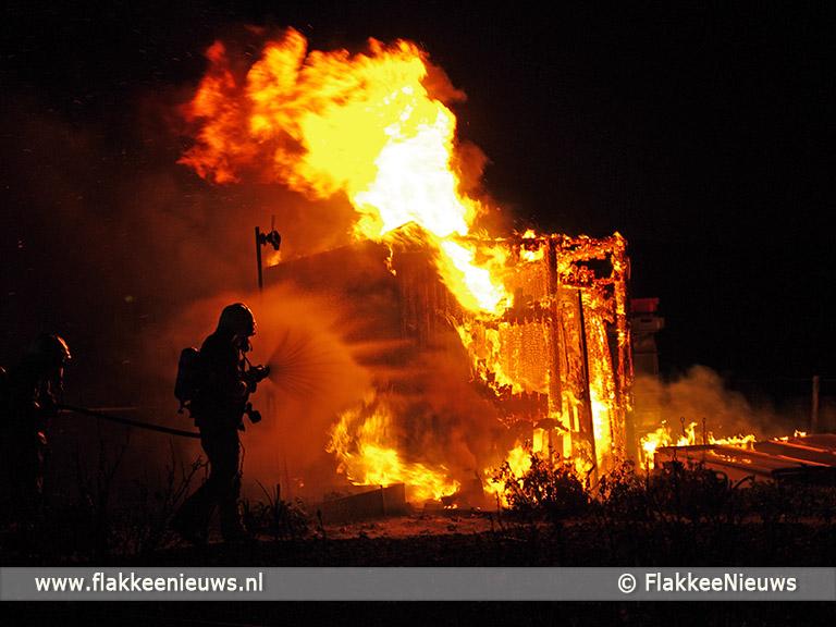 Foto behorende bij Brand bij volkstuintjes Middelharnis