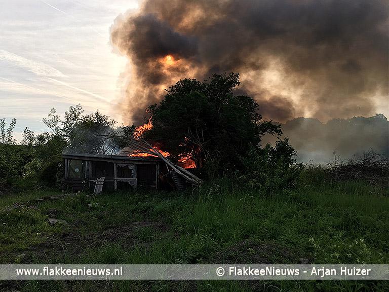 Foto behorende bij Asbest vrijgekomen bij schuurbrand Dirksland