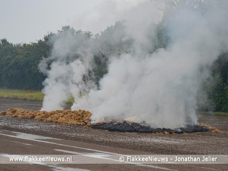 Foto behorende bij Rook en stank van hooi in brand