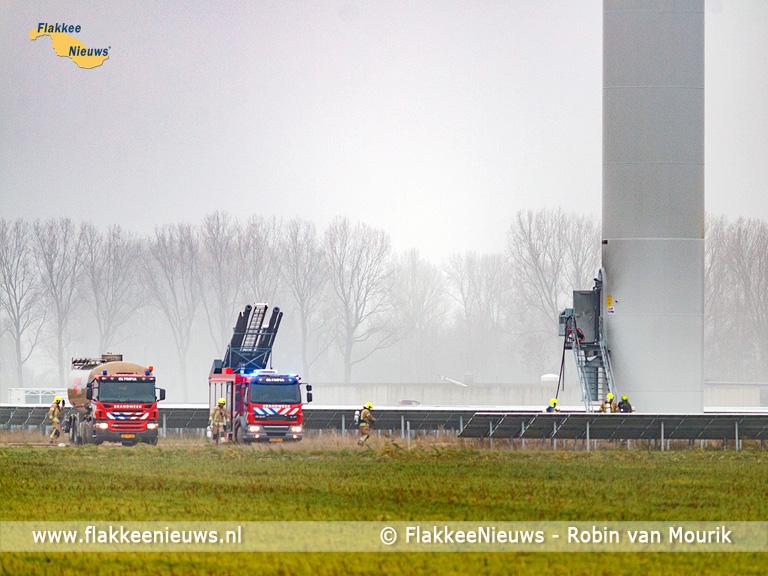 Foto behorende bij Brandweer rukt uit voor brand in windmolen